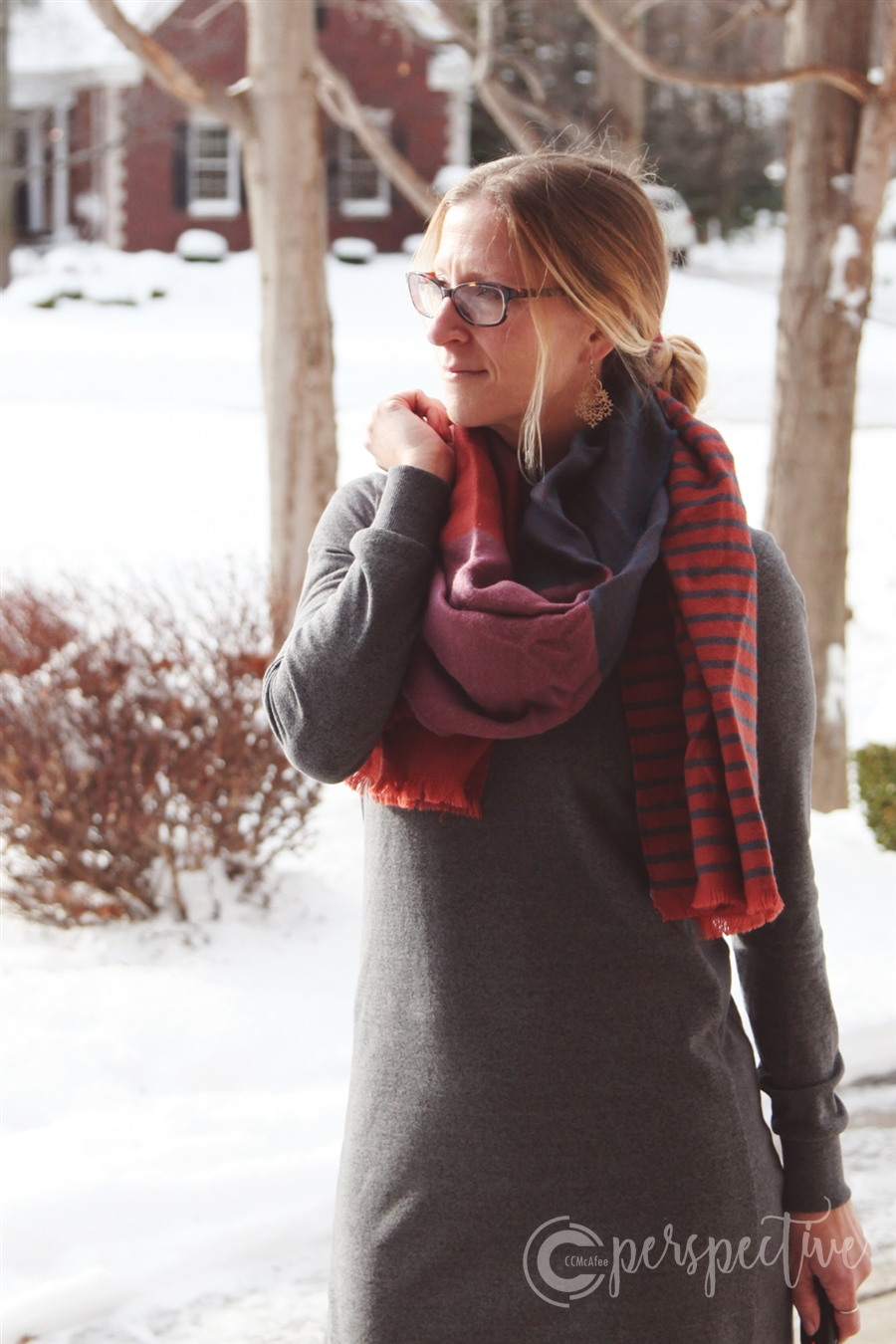 sweatshirt dress and blanket scarf