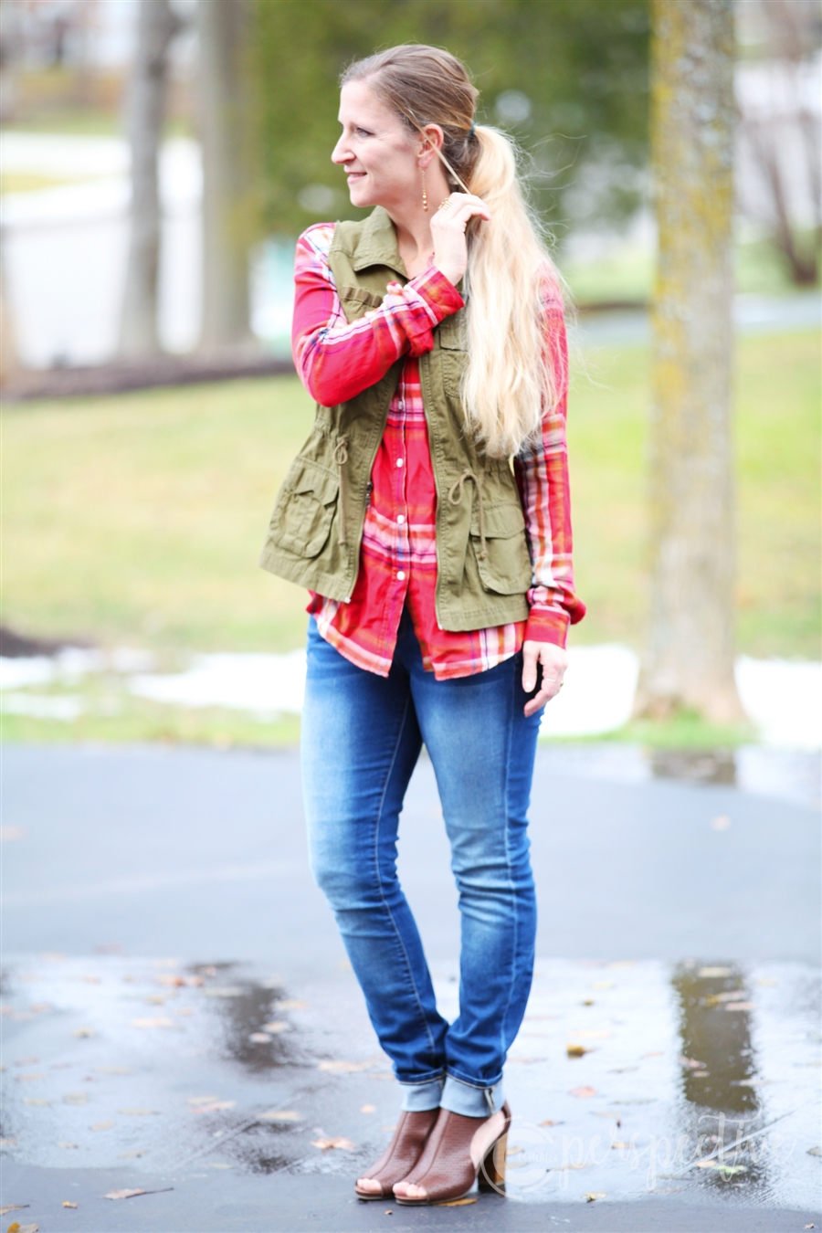 plaid top with military vest