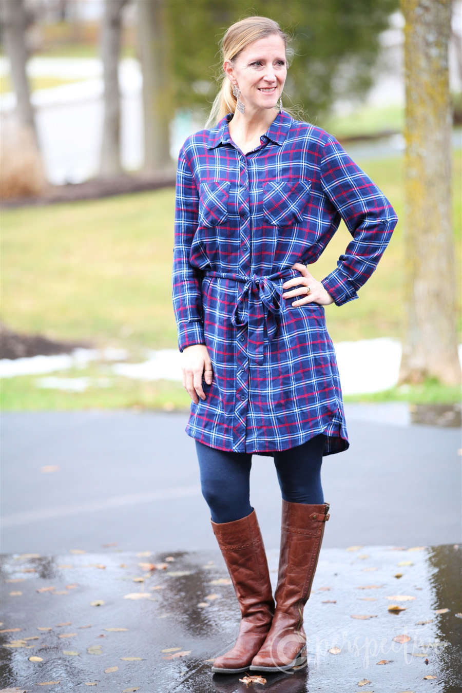 navy plaid shirt dress