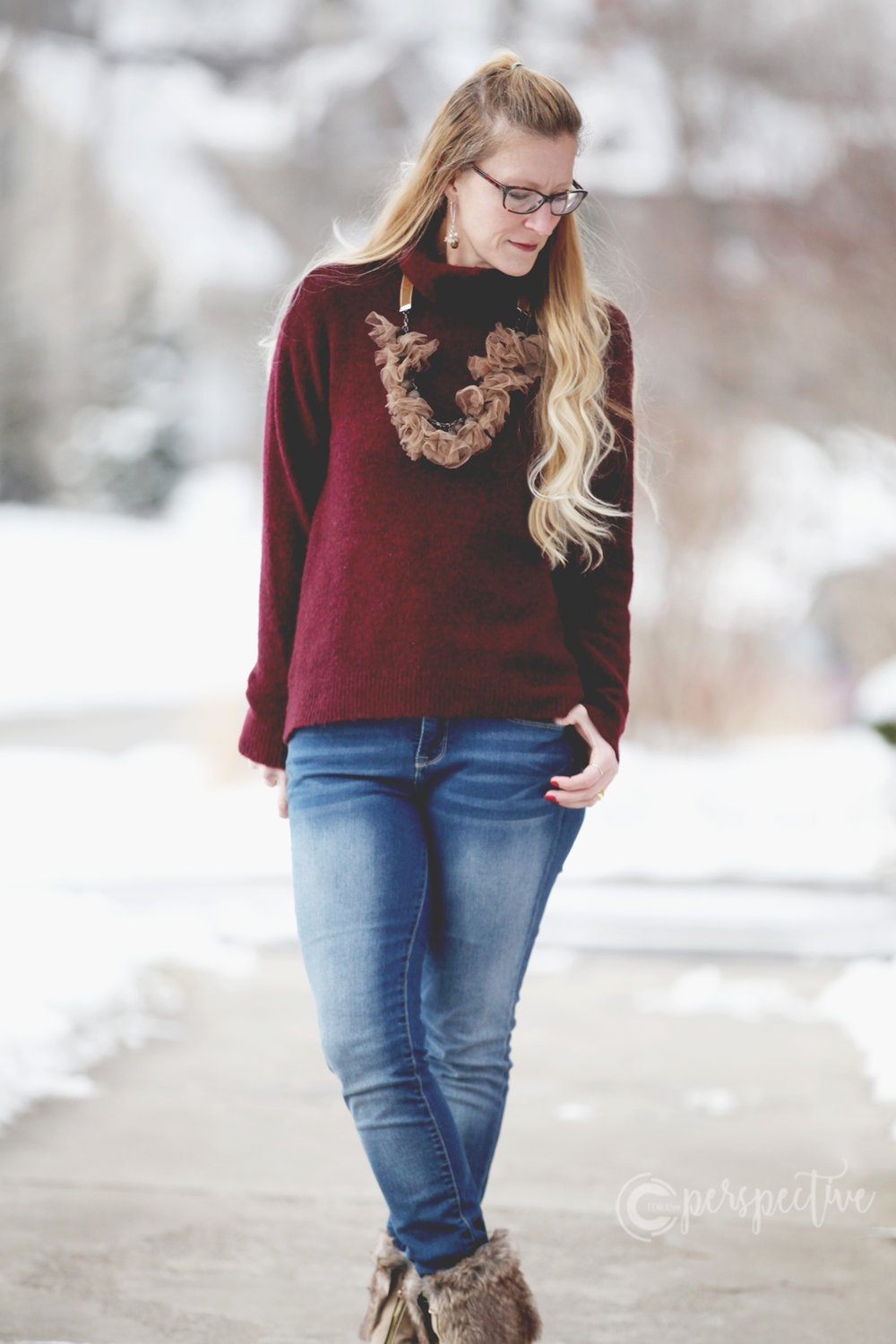 red sweater, fur boots