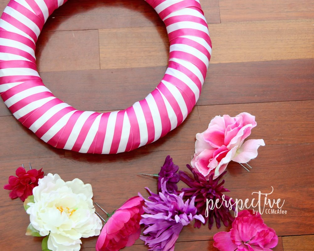 spring wreath stripe ribbon wreath