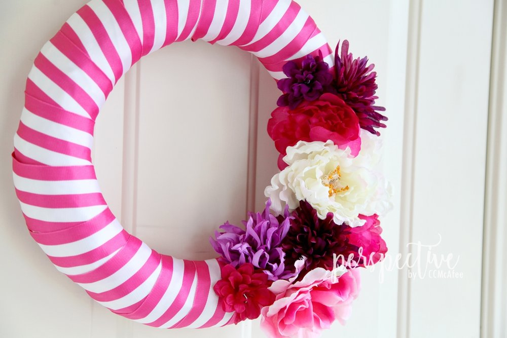 dollar store flowers on wreath