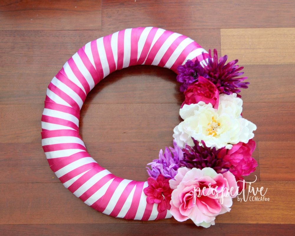 pink stripe ribbon wreath