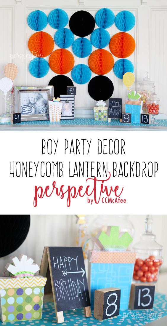 boy party, party decor, honeycomb backdrop