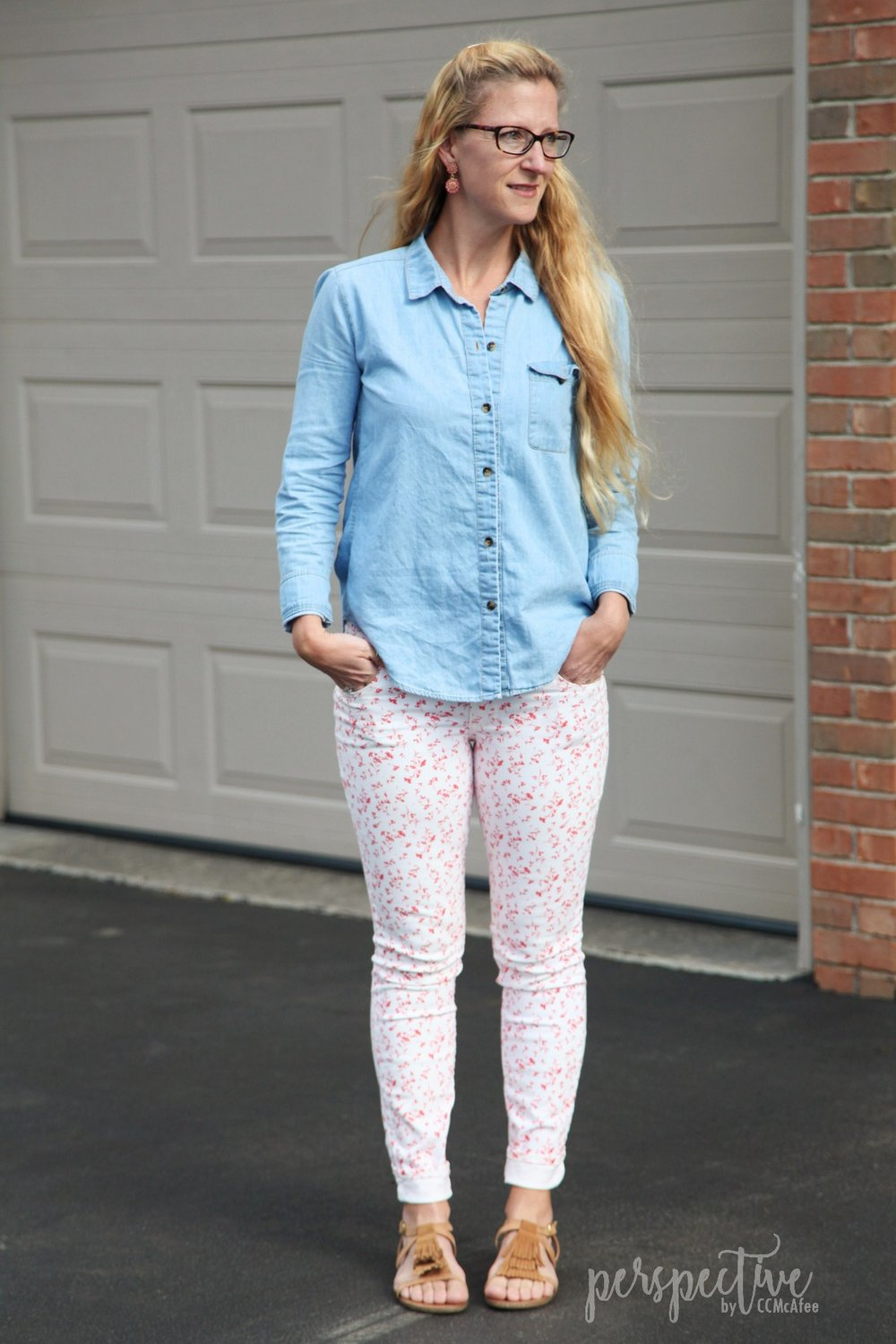 spring look patterned pants