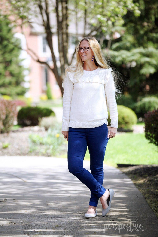 ruffle sleeve sweater, cobalt pants