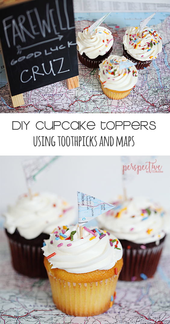 map cupcake toppers