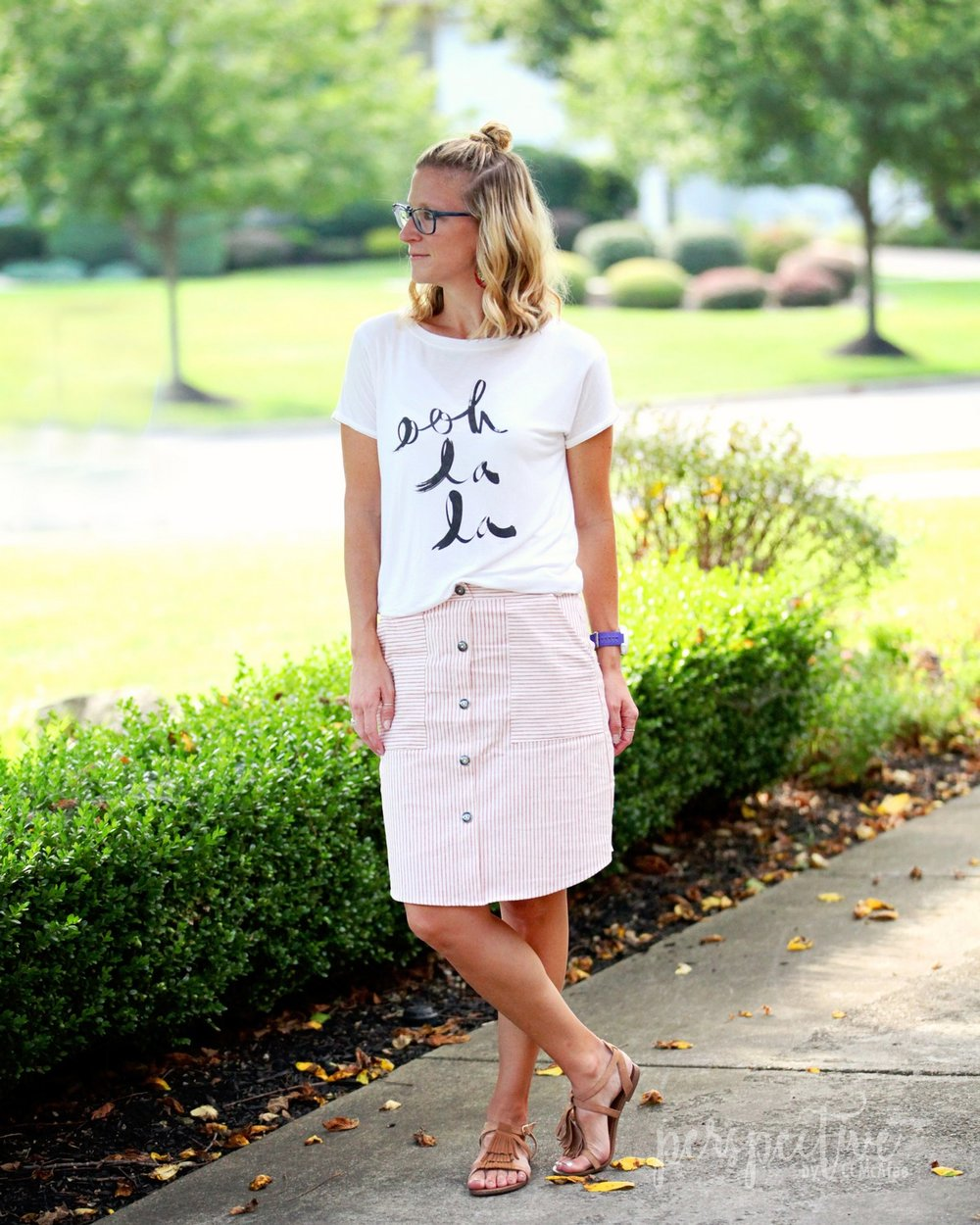 potters pot stripe skirt