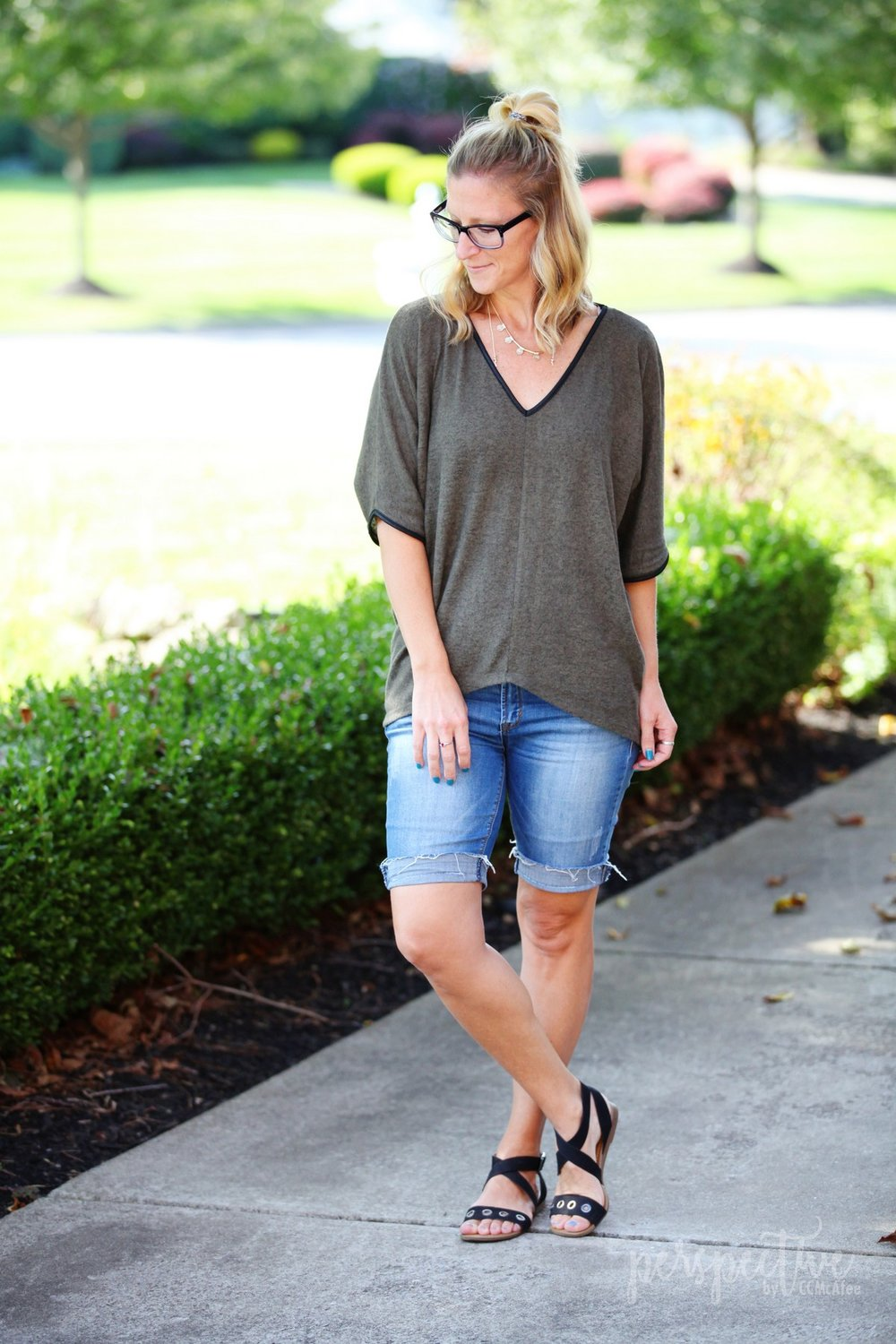 olive top and shorts