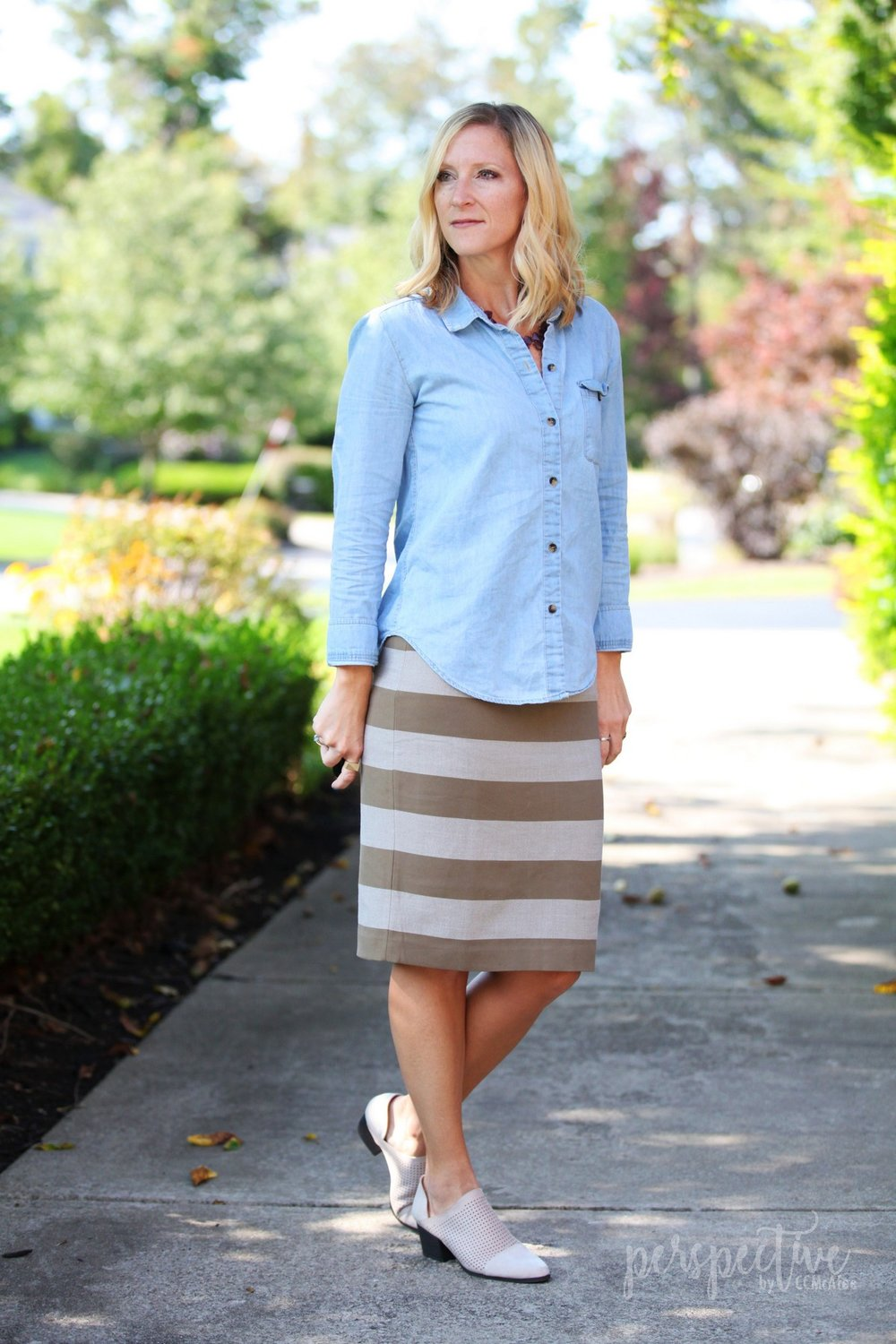 chambray and stripe skirt