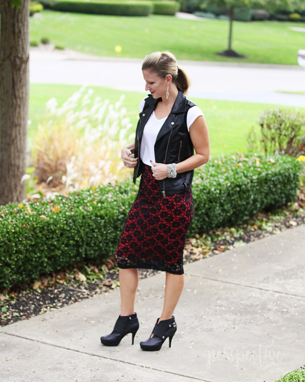 leather vest lace skirt