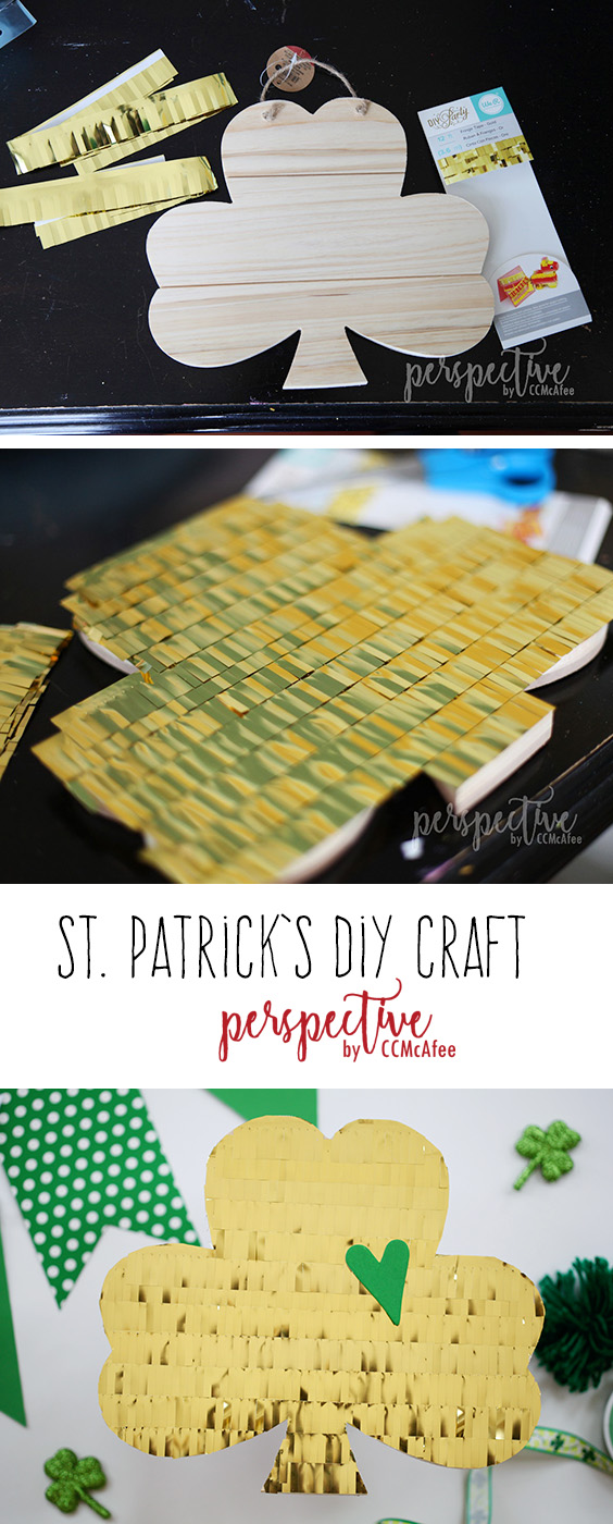 DIY fringe shamrock craft