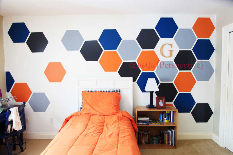 teen room hexagon wall