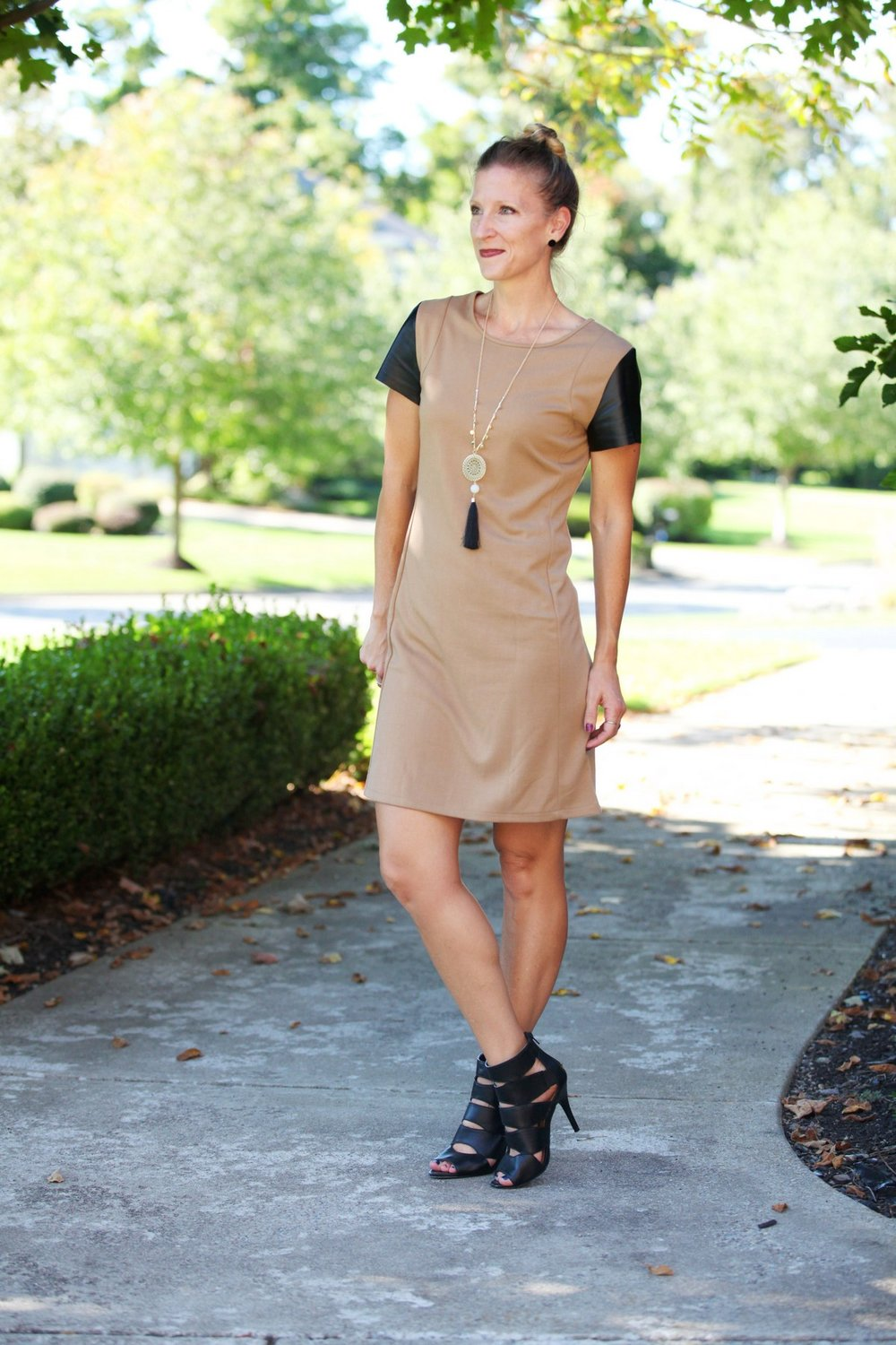 camel and black dress