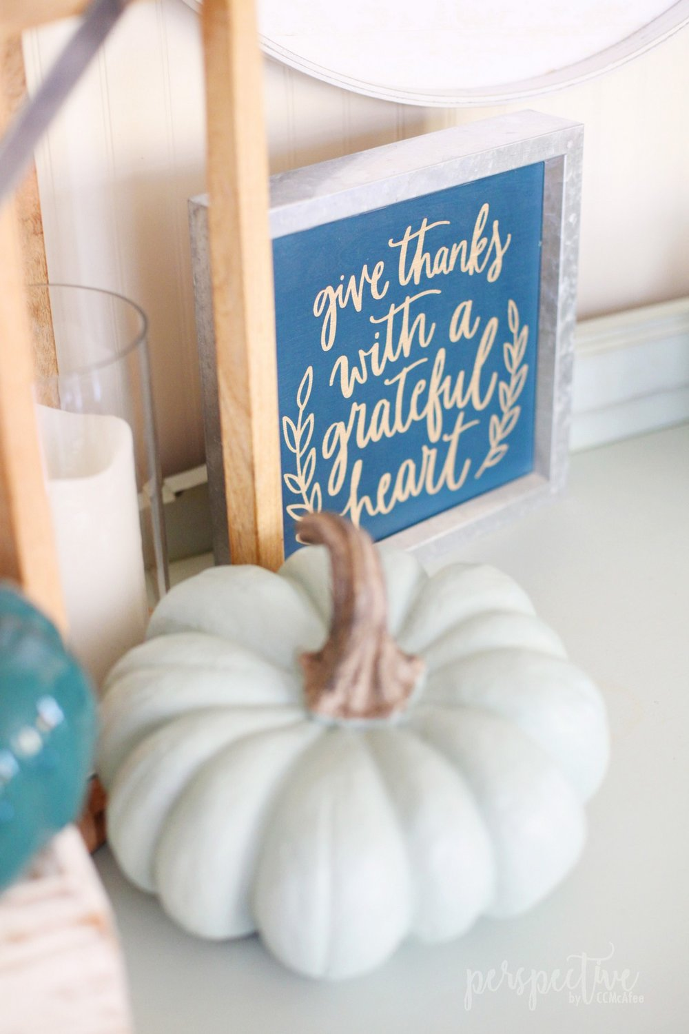 blue and green fall decor