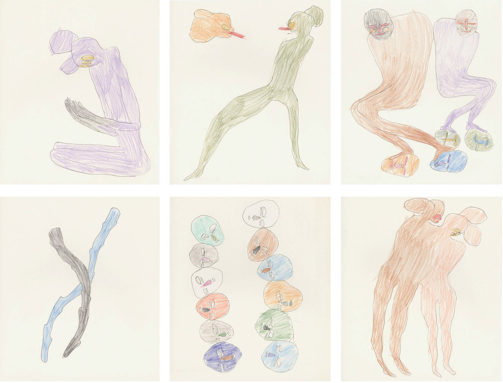 """""""Across"""" / 2010 pen and crayon on paper each 23,5 x 29cm"""