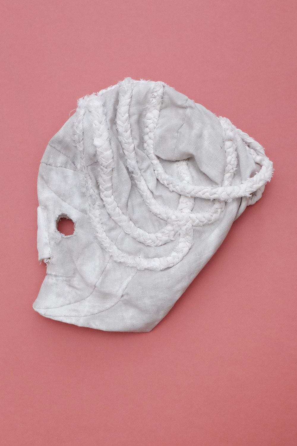 "Mask (white) / 2018 From the serie ""Epilog"" textiles"