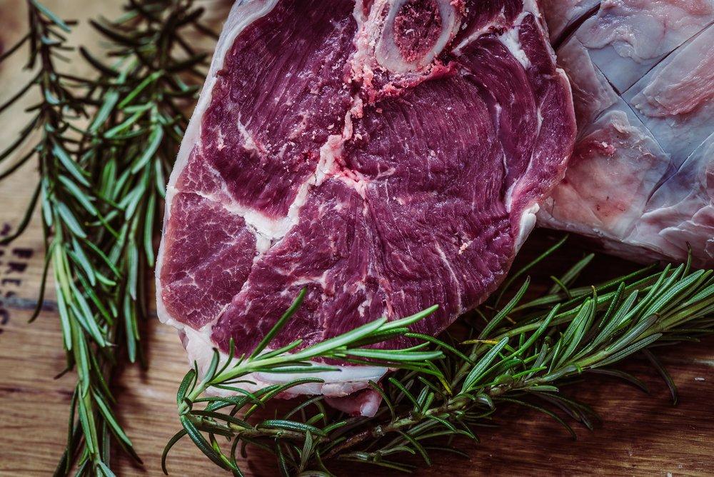 fresh steak with rosemary
