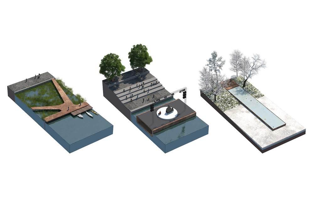 Секции набережной: жилая, центральная, рекриационная.