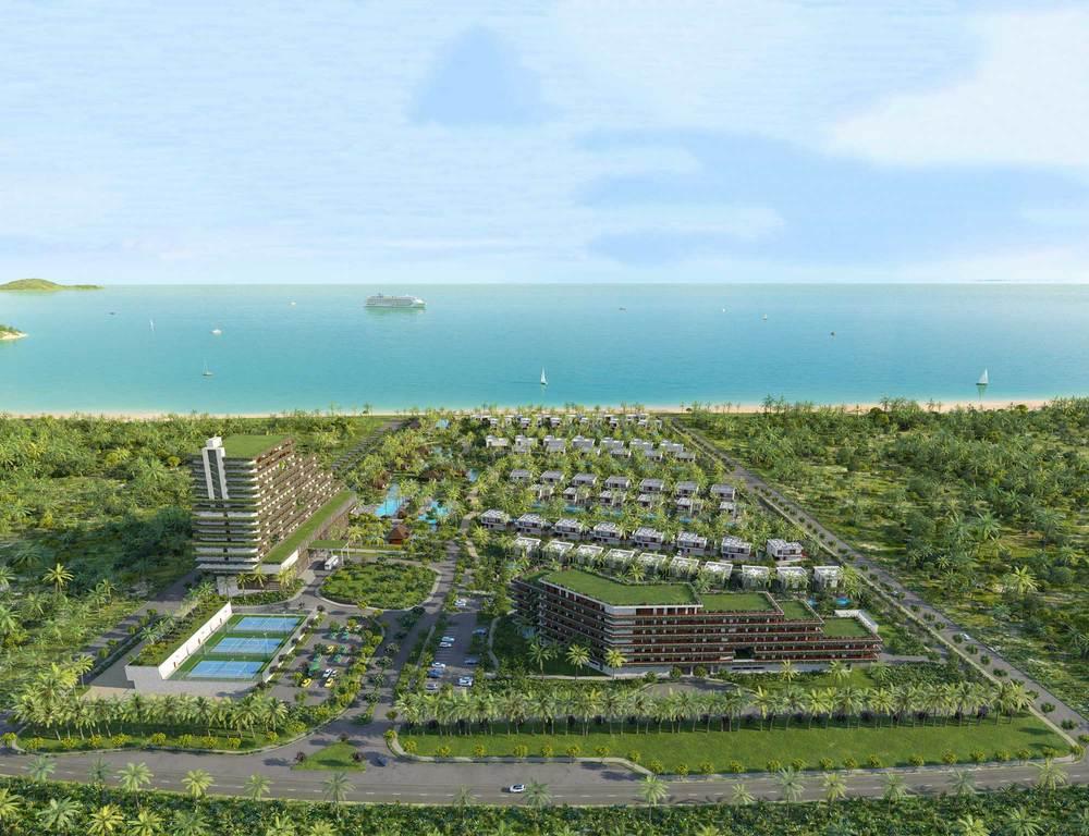 Вид на входную группу курорта со стороны шоссе Нгуен Тат Тхань