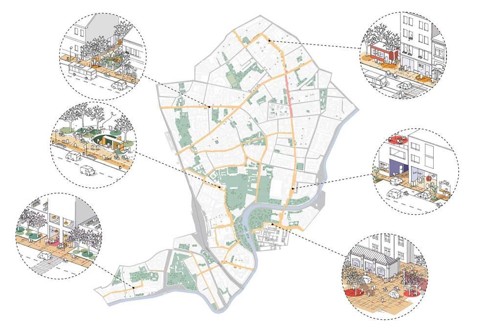 Генеральный план Артквартала, на котором изображены улицы, общественные пространства и зеленые зоны.