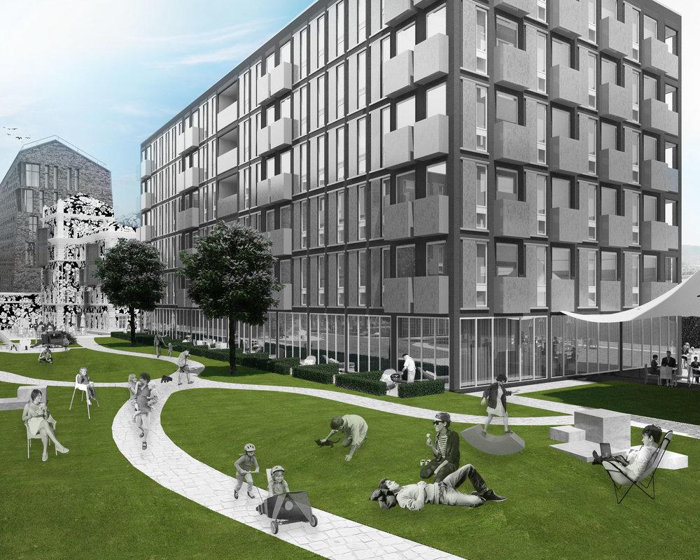 На территории кластера будут сочетаться активная уличная торговля на первых этажах вдоль Серебряннического переулка и уютный закрытый внутренний двор