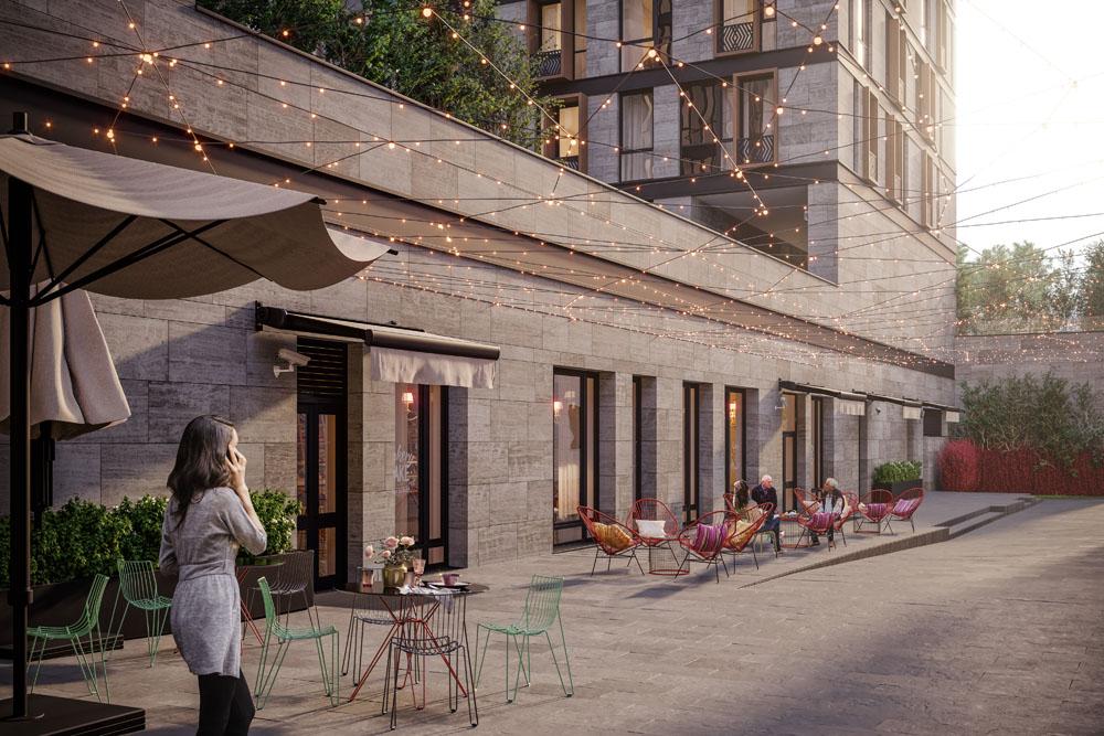 Программирование функций первых этажей делает комплекс комфортным для жизни и интегрирует его в инфраструктуру района.