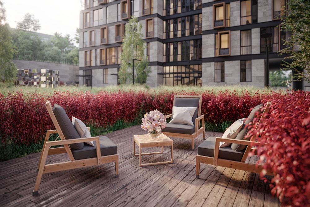 На первом этаже расположены квартиры с патио - личным палисадником.