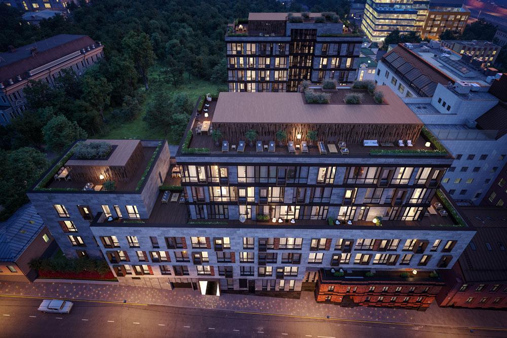 Несмотря на сложность и специфичность ландшафта, здание удачно вписано в пространство.