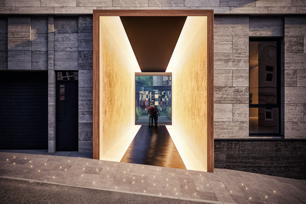 Стилистика оформления роднит общественныетерритории дома с арт-пространствами.