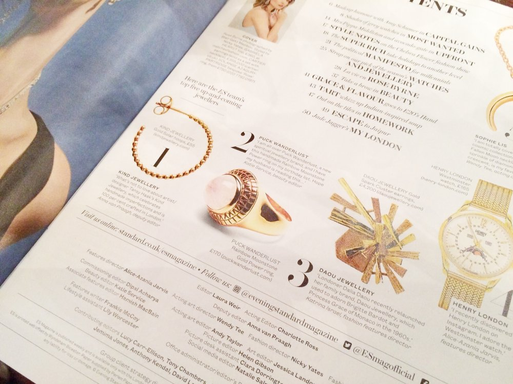 KIND Jewellery Evening Standard Magazine