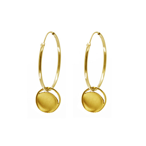 29316d1c199f88 Gold Crescent Lune Disc Hoop Earrings — KIND COLLECTION