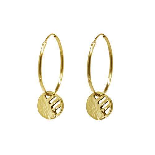 40c604602517d3 Gold Eclipse Disc Hoop Earrings — KIND COLLECTION
