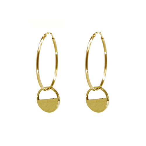 acd9a56807e9af Gold Demi Lune Disc Hoop Earrings — KIND COLLECTION
