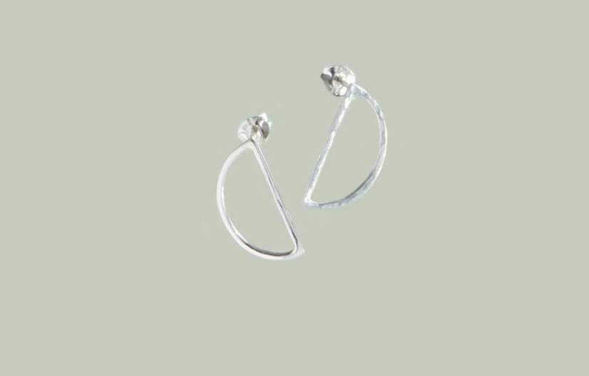 Know the origin Silver Demi Lune Stud Earrings