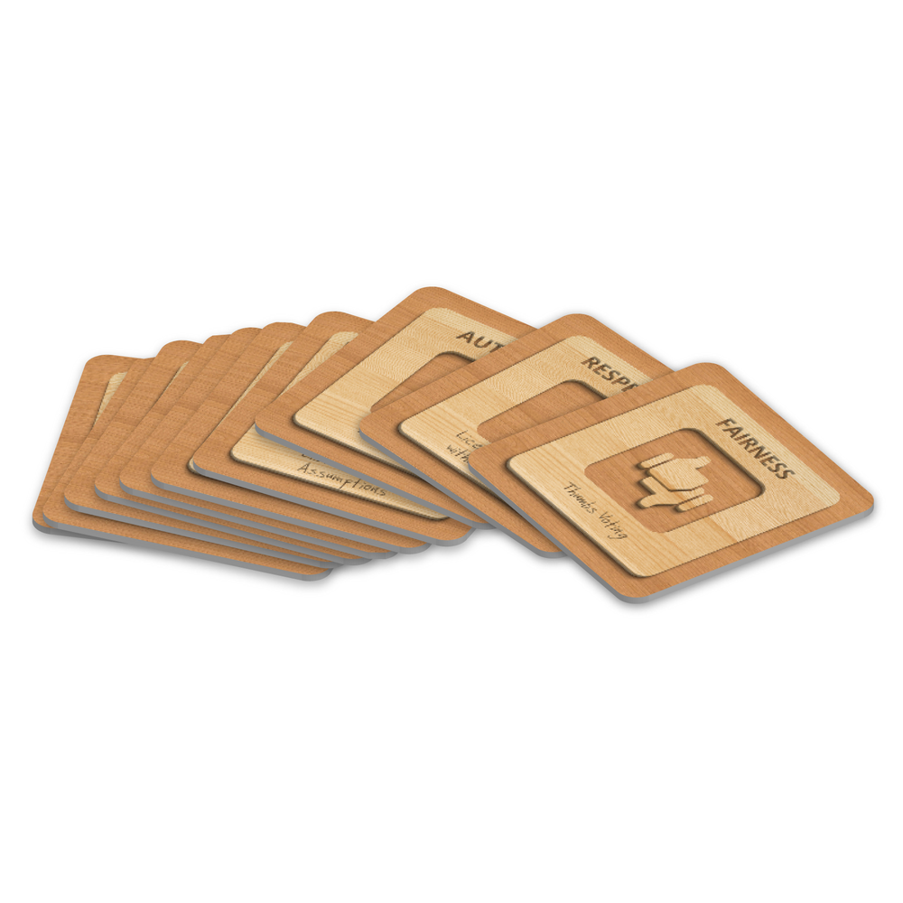 Value-Rule Cards These 12 Value-Rule cards help the group to align their values and make each value tangible and actionable through a rule. They can be used for the duration of a meeting without the need for lengthy and tricky discussions.