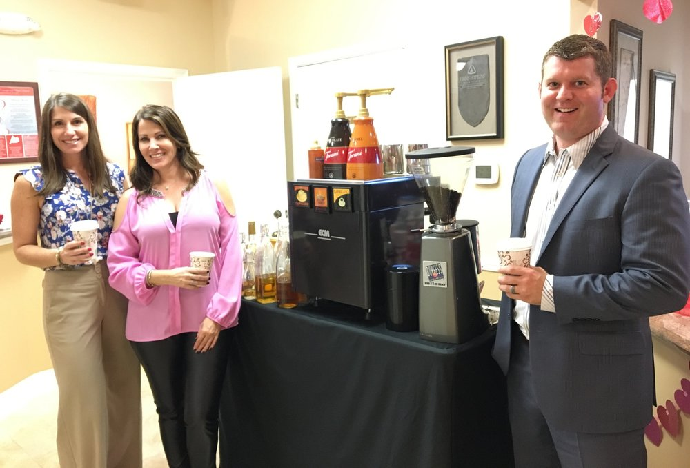 Treating clients at a physician's office to a cup of specialty coffee, compliments of these amazing Allergan representatives.