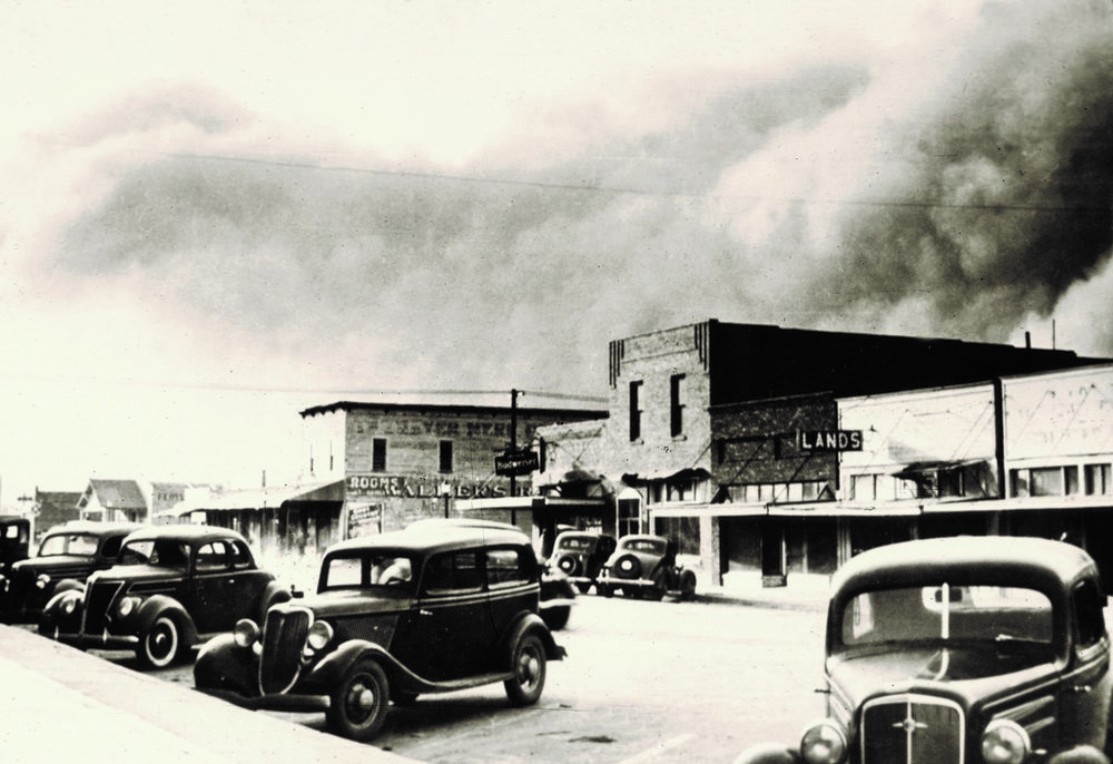 """The Dust Bowl brought devastation across the county, not only from the resulting dust """"black outs"""" but also from the loss of topsoil and the resulting impact on crop & food production."""
