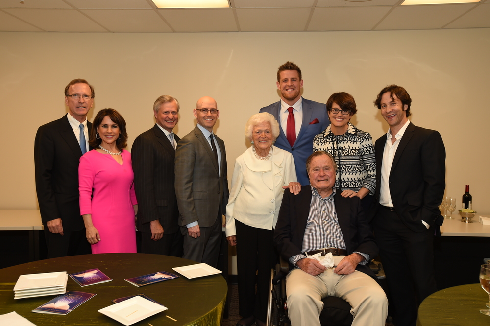 Neil and Maria Bush, Jon Meacham, Brad Meltzer, Mrs. Bush, J.J. Watt, Kelly Corrigan, David Eagleman and President Geo.JPG