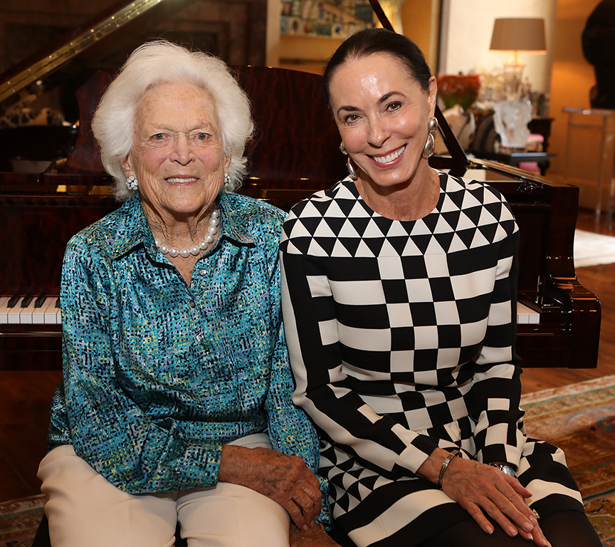 First Lady Barbara Bush with hostess Sue Smith.