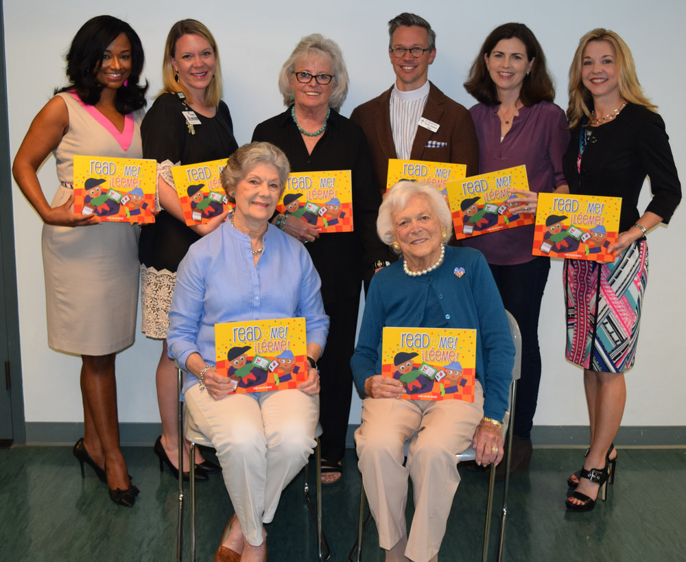 Mrs. Barbara Bush and Dr. Julie Finck kick off literacy initiative with Saintly Stitchers at St. Martin's Episcopal Church and Harris Health System's Ben Taub and Lyndon B. Johnson hospitals.