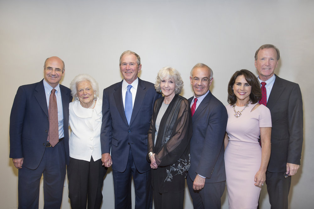 From Left: Bill Browder, Barbara Bush, President George W. Bush,  Sue Grafton, David Brooks, Maria and Neil Bush. Photo: David Shutts