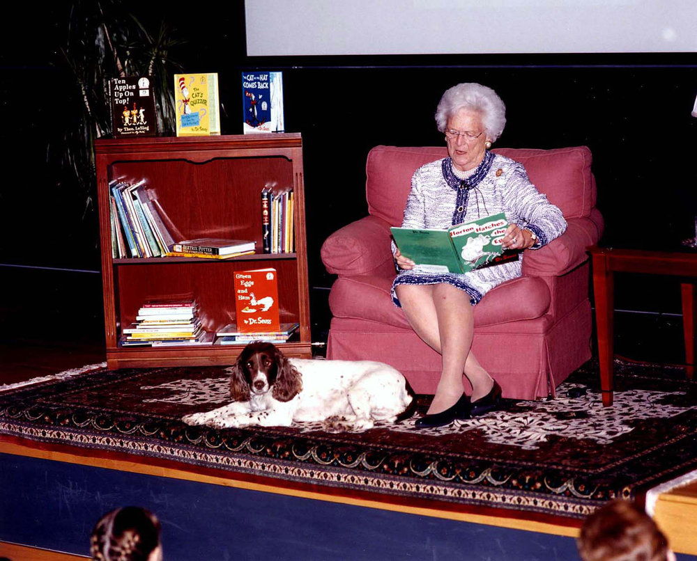 Mrs Bush Reading at George Bush Presidential Library 2002.jpg