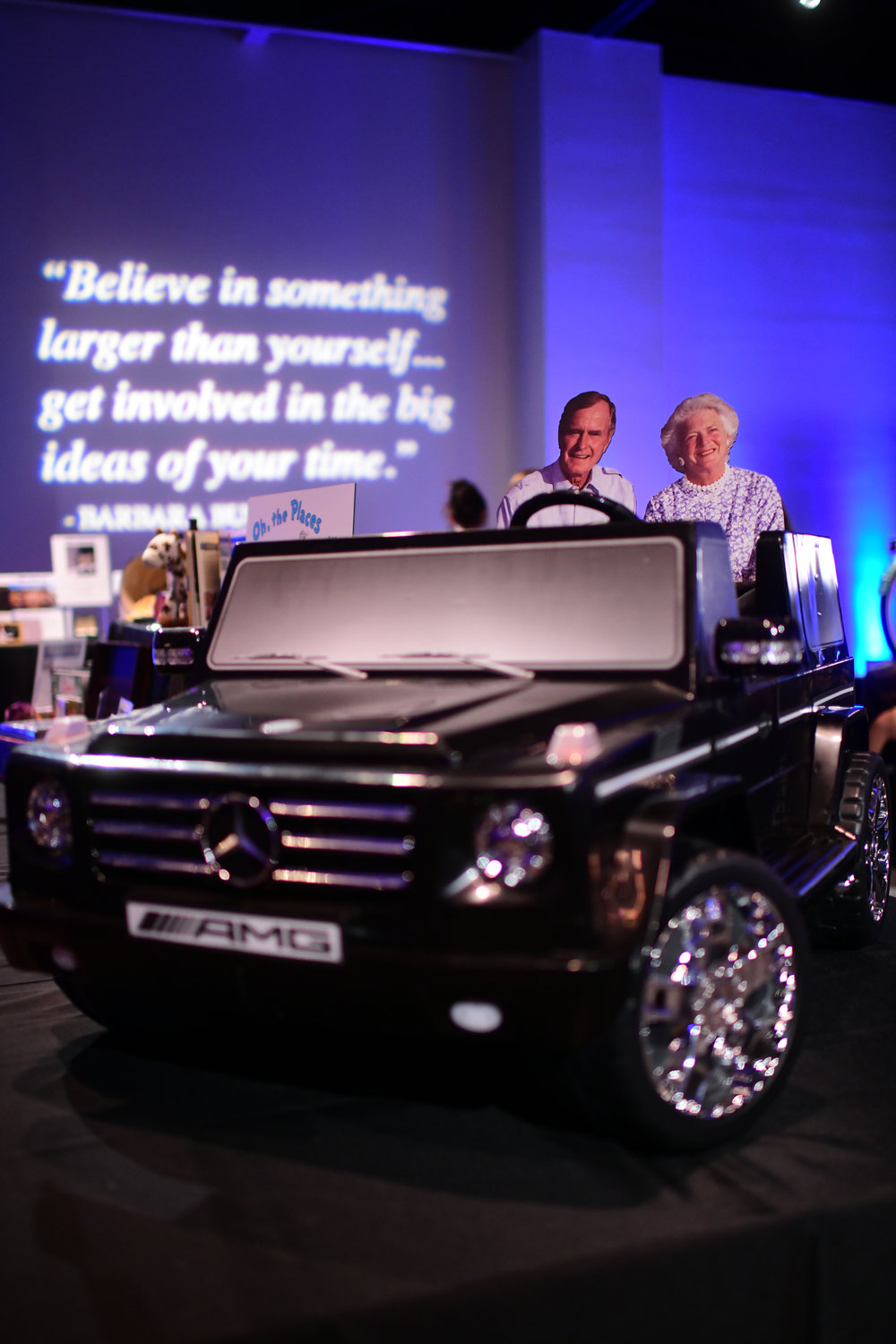 Mercedes Kid's Car in the Silent Auction Featuring George H W and Barbara Bush in the Back Seat; Photo by Daniel Ortiz.jpg