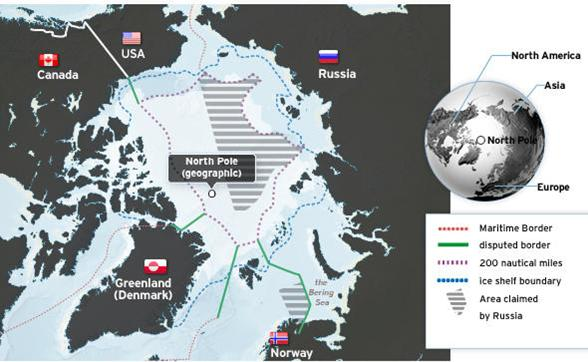 A map showing Russian territorial claims in the Arctic. Photo: Central Intelligence Agency