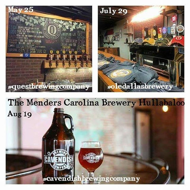 Y'all like beer? We sure as hell do! Especially Carolina brewed beer! Here's some breweries we're playing in the near future. Tag the breweries youd like to see The Menders add to the list! #localbeer #drinkncbeer #whatsyourquest #beergrowshere #cavendishbrewing #livemusic #newmusic #gastonia #clt #gvlmusic #ODB