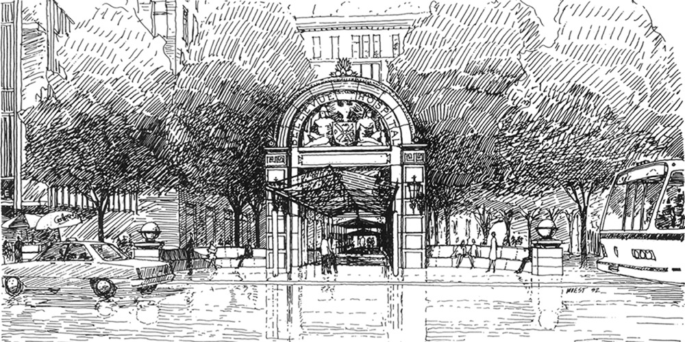 BH - New Entrance Arch - Exterior View 1 Line Drawing.jpg