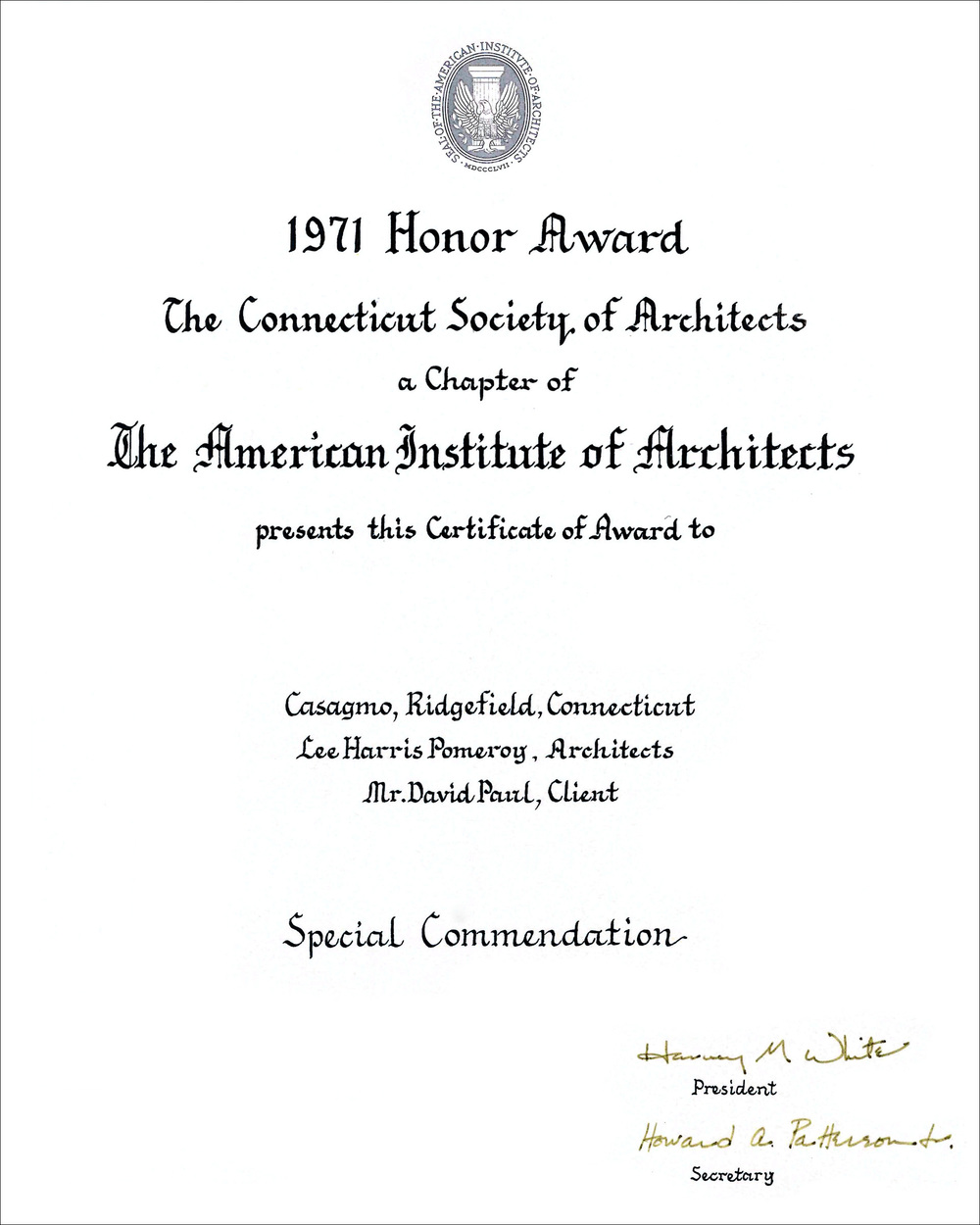 1971 CT Society of Architects Casagmo