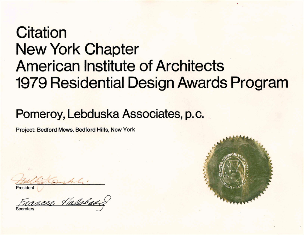 1979 AIA NY Citation Bedford Mews