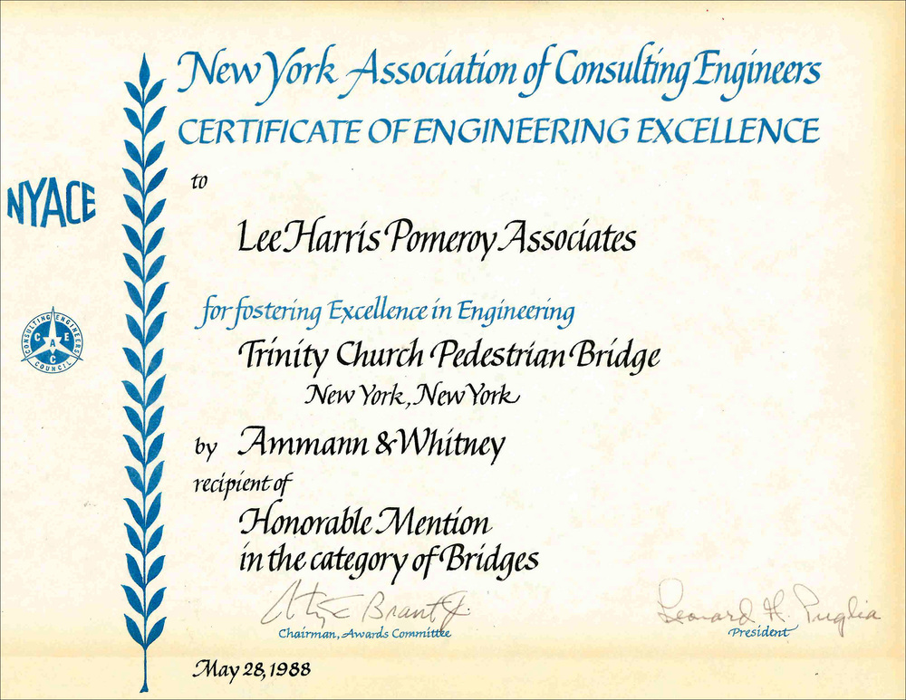 1988 NYACE Cert of Eng Excellence Trinity Church Pedestrian Bridge